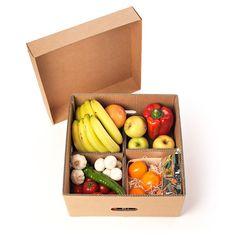 Caja para fruta y verdura con tapa y separadores - Kartox