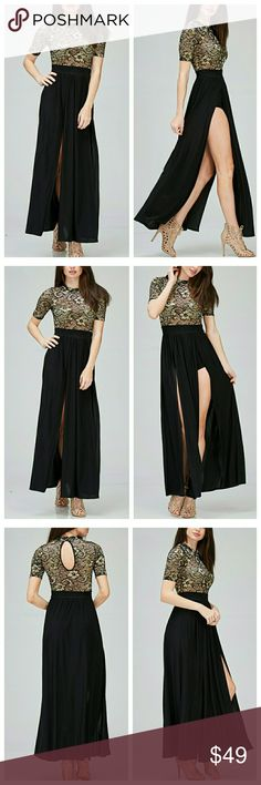 Black And Gold Maxi With Attached Shorts Dress has two long slits in front, and attached shorts underneath. Top of dress (attached) is a stretch lace in a soft gold and black. Skirt and shorts fabric is smooth and stretchy. Keyhole fasten in back. Dresses