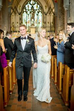 Karen Willis Holmes' Anya sequin wedding dress for Arabella and Andy's Classic Wedding in Ireland