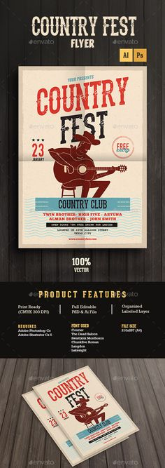 Country Music Festival — Photoshop PSD #old style #folk • Available here → https://graphicriver.net/item/country-music-festival/14059676?ref=pxcr