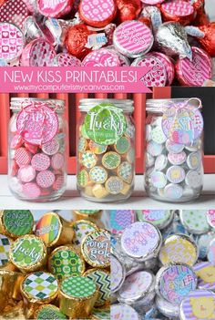 TONS of Hershey KISS printables!! Valentines, Easter, St. Patrick's Day and more + printing and assembly tips too!  I love how she puts them in mason jars - such a cute holiday gift! #mycomputerismycanvas