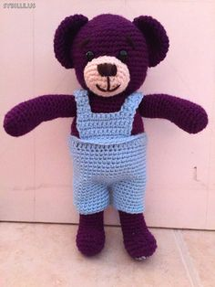 Gehäkelter #Teddybär 35cm in lila.  Crochet #teddy_bear 14inch, purple.