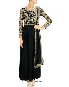 DE Perfect Look Black Anarkali Churidar Suit