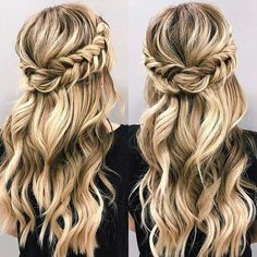 Braided Half Up Half Down Updo for Prom