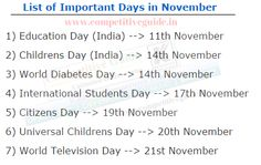 List of Important Days in November - Online Competitive Exams