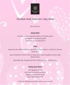 Treat your loved one to a romantic evening at Jacks @ Hartham Park. Menu for Valentines Day 2014.