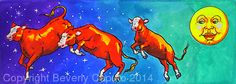 """Moon Cows! #2 by Beverly Caputo Watercolor ~ 6"""" x 15"""""""