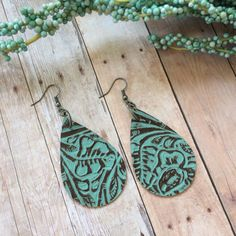 Teardrop leather earrings, aqua embossed leather teardrop earrings, aqua embossed leather earrings by ShopSimplyDistressed on Etsy
