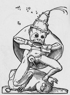 Titleplate CXVI, [frogman making faces]  Mediumwoodblock  BookFrançois Rabelais. Les Songes Drolatiques de Pantagruel. Paris : Edwin Tross, 1869.  NotesThis frog-faced character could be Rabelais's mock-epic hero Panurge, or else Pope Jules II.  ThemeThe Grotesque