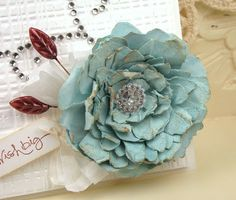 In Stamping Mode: Wish Big with Want 2 Scrap bling! Making Fabric Flowers, How To Make Paper Flowers, Flower Making, Handmade Flowers, Diy Flowers, Flores Diy, Shabby Chic Cards, Paper Flower Tutorial, Diy Ribbon