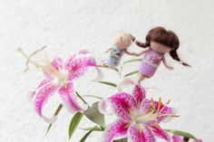 Personalized dolls, needle felted fairy sisters mobile
