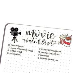 Bullet journal movies to watch Bullet Journal Films, Bullet Journal Notebook, Bullet Journal Tracker, Bullet Journal Themes, Bullet Journal Inspo, Bullet Journal Layout, Movie Bullet, To Do Planner, Journal Challenge