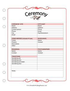 Wedding Day Checklist Printable  Things Not To Forget  One