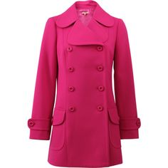 Michael Kors Flap Pocket Pea Coat (72,000 THB) ❤ liked on Polyvore featuring outerwear, coats, pink peacoat, long peacoat, peacoat coat, pink pea coat and michael kors
