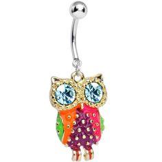 Aqua Cubic Zirconia Wise Eyes Rainbow Owl Dangle Belly Ring