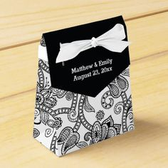 Black and White Floral Paisley Wedding Favor Boxes