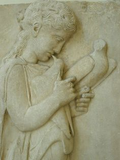 Marble grave stele of a little girl with doves Greek 450-440 BCE found on the island of Paros | Flickr - Photo Sharing!