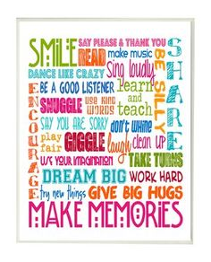 Callie Smile Make Memories Rainbow Typography Wall Plaque