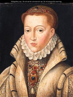 """Portrait of a Lady, previously identified as Lady Jane Grey, quarter-length, in a gold-embroidered coif and white ruff""""  (after) Clouet, Francois"""