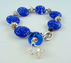 Lampwork Bead Jewelry Bracelet   ' Blue Sky of Texas' by RoxeMarie, $72.00