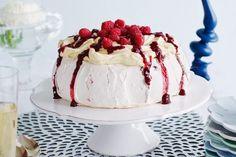 Raspberry pavlova with sherry custard cream