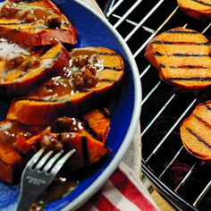Grilled Sweet Potato Steaks With Maple Pecan Butter