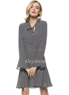 Dress - $19.25 - Polyester Tartan Long Sleeve Above Knee Casual Dresses (1955133449)
