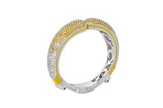 Lafayette Bangle from The Manhattan Collection: hand made 925 sterling silver plated in silver rhodium, hand-set with yellow sapphires and white topaz accented by lemon yellow enamel.