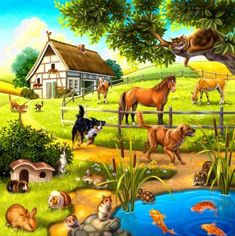 EverShine DIY Diamond Painting Cross Stitch Scenery Pictures Of Rhinestones Diamond Embroidery Landscape Living Room Decor Farm Animals, Animals And Pets, Cute Animals, Paradise Pictures, Scenery Pictures, Paradise On Earth, Animal Paintings, Beautiful Creatures, Pet Birds