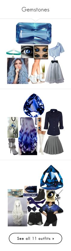 """""""Gemstones"""" by marythedemon ❤ liked on Polyvore featuring WithChic, Warner Bros., Oasis, Topshop, LULUS, IRO, Palm Beach Jewelry, Chanel, Carolee and Hell Bunny"""