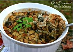 Old-Fashioned Oyster Dressing with Sausage, Mushrooms & Bacon