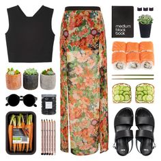 """""""~ O81215 // first day of school!"""" by khieug ❤ liked on Polyvore featuring Topshop, Monki, ASOS, Shop Succulents, Threshold, Dinks, Crate and Barrel, Retrò, Maison Margiela and Aveda"""
