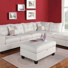 Acme Furniture White Leather Sectional Sofa