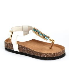 Look at this Spoiled Angel Kids White Rhinestone T-Strap Sandal on #zulily today!