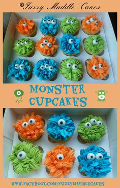 Monster cupcakes for B's Halloween Party at school. Give some horns with candy corn, and maybe some mouths and teeth.