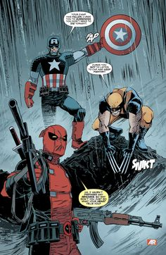 """Captain America, Wolverine & Deadpool by Declan Shalvey - """"Uh, I haven't prepared any remarks, so why don't you just do what your heart tells you?"""""""