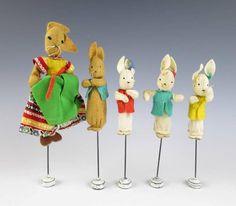 Vintage GERMAN Baps Felt Doll Puppet RABBIT FAMILY Edith Von Arps Storybook Toy
