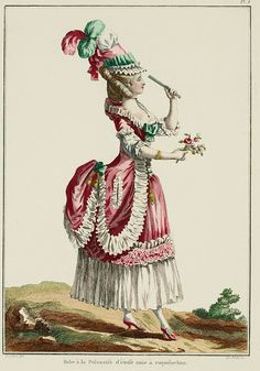 Galerie des Modes, 7e Cahier, 2e Figure  Polonaise Gown, hooded, of unpatterned material. (1778)