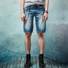 2017 Summer Men Denim Blue Short Jeans Retro Denim Trousers Top Fashion Casual Slim Straight Men Casual Jeans Knee Length 28-38