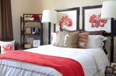 Winter guest bedroom – add color and personal touches. LOVE THE WHITE AND CORAL!!