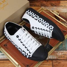 -White/Black Gabardine Sneakers. -Upper: 100% cotton. -Lining: 100% sheep leather. -Sole: 100% rubber. -Lace-up closure. -Printed Burberry lettering at side. -Size: EU 38, EU 39, EU 40, EU 41, EU 42, EU 43, EU 44, EU 45. Burberry Outlet Online, Cheap Burberry, Sheep Leather, Sale Store, Check Dress, Buy Cheap, Dress Outfits, Lace Up, Sneakers