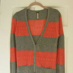 Feminine Boyfriend Cardigan The coral lace gives a feminine touch to this traditional heather gray cardigan. Excellent condition. No  tears, rips or stains. Smoke free home. Poof! Sweaters Cardigans
