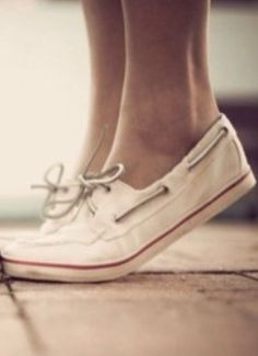 sperry - white with a red line shoes