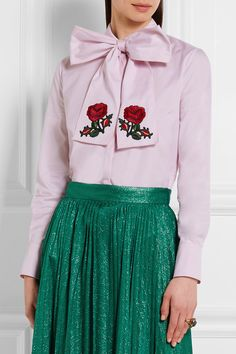 Gucci - Embroidered Pussy-bow Cotton Blouse - Pink - IT38