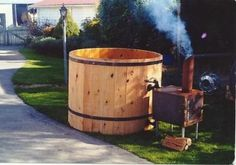 Discover thousands of images about Outdoor Wood-Burning Furnace Plans Outdoor Tub, Outdoor Baths, Outdoor Decor, Backyard Projects, Outdoor Projects, Garden Projects, Outdoor Wood Burning Furnace, Hot Tub Backyard, The Ranch
