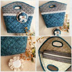 Купить Текстильная корзинка для приятных мелочей. - темно-бирюзовый, в клеточку, сумка ручной работы