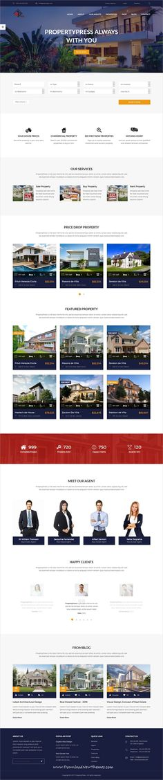 PropertyPress is clean and modern design responsive HTML5 #bootstrap #theme for #realestate and #property agencies website to live preview & download click on image or Visit 👆
