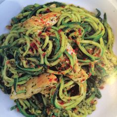 Zucchini is now the new pasta!  It's super nutritious and works so well with your favorite sauces.  A spiralizer or julienne peeler easily turns this popular veggie into noodles has become one of my new favorite kitchen tools to have on hand.   Add some chicken and sun-dried tomatoes and you and you...