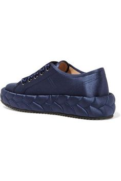 Marco De Vincenzo - Quilted Satin Sneakers - Navy - IT37.5