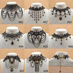 Thời trang nữ ren đen choker retro hoa pha lê Tassel Mặt dây chuyền vòng cổ collares Gothic Victoria steampunk cổ vòng cổ(China (Mainland))